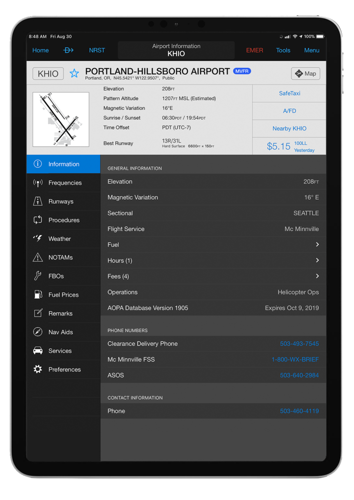 iPad Pro with Garmin Pilot and the airport information feature selected