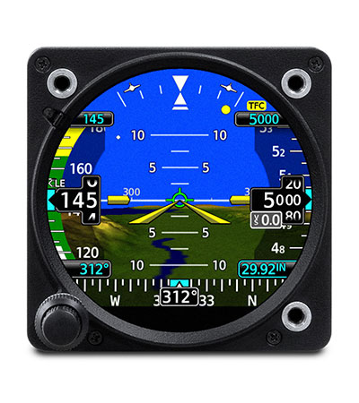 Garmin GI 275 showing primary attitude indication, speed, altitude and synthetic vision