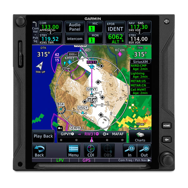 Garmin GTN 750Xi displaying map, chart and weather