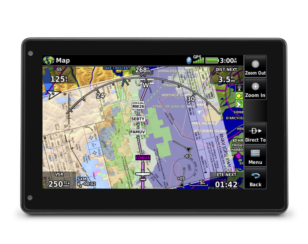 aera 760 displaying a chart overlay on the moving map