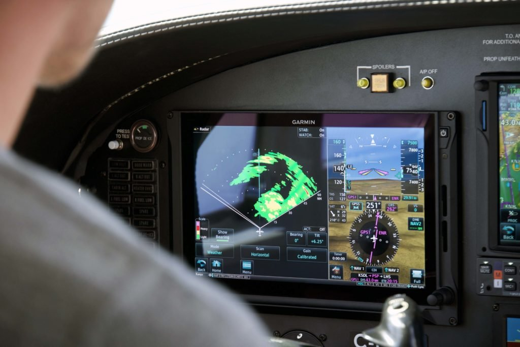 Weather radar displayed on Garmin TXi flight display