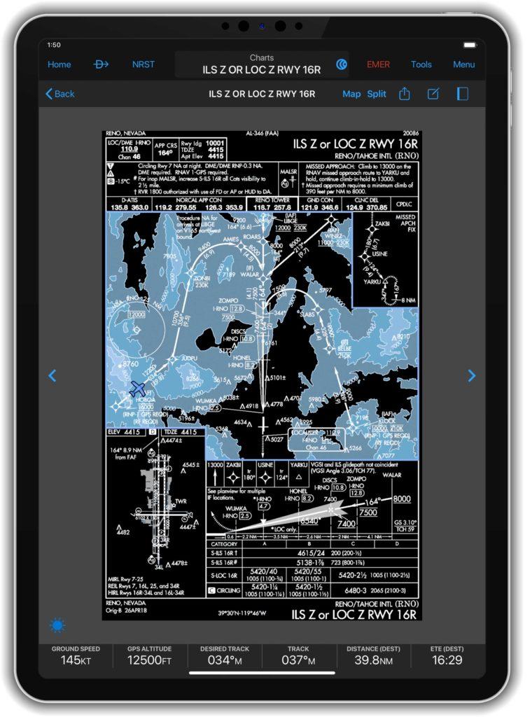 iPad displaying night mode approach chart