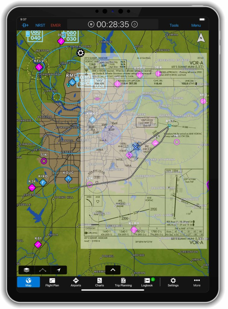 iPad displaying flight track on Garmin Pilot app