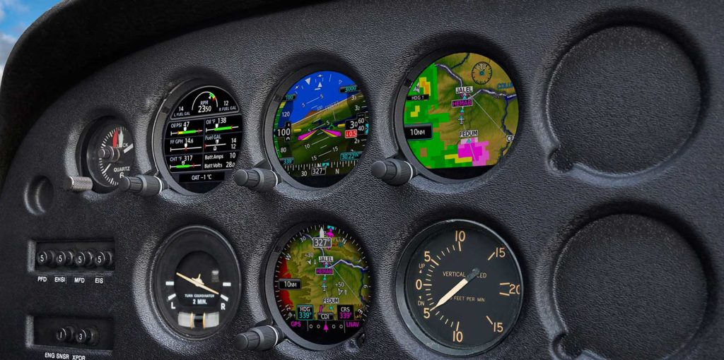 Aircraft instrument panel show gauges and instruments