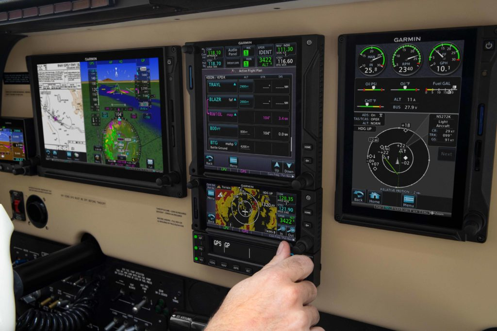 Airplane instrument panel featuring Garmin avionics