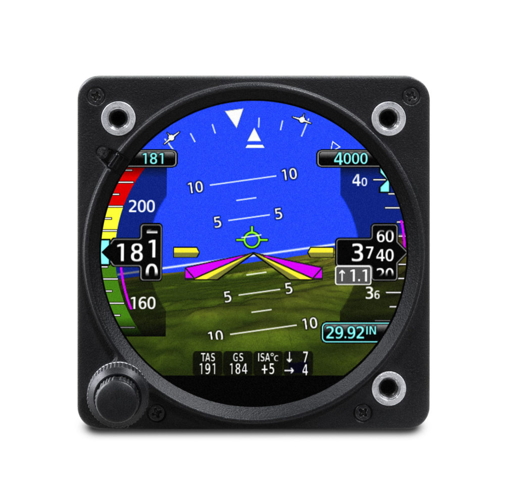 GI 275 electronic flight instrument displaying outside air temperature, true airspeed, wind speed and direction
