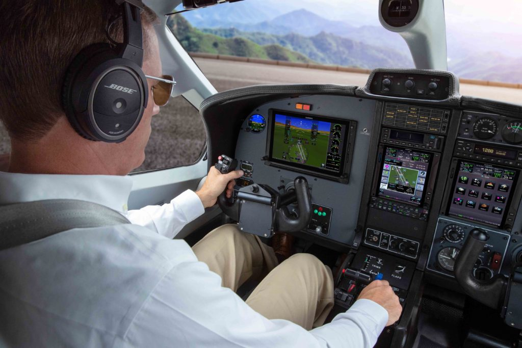 Pilot in TBM 850 equipped with G600 TXi and GTN 750Xi preparing for takeoff