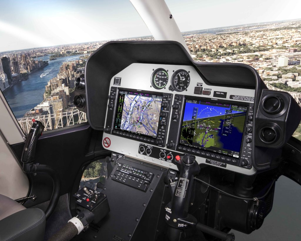 Bell 407 GXi helicopter cockpit featuring Garmin G1000H NXi.