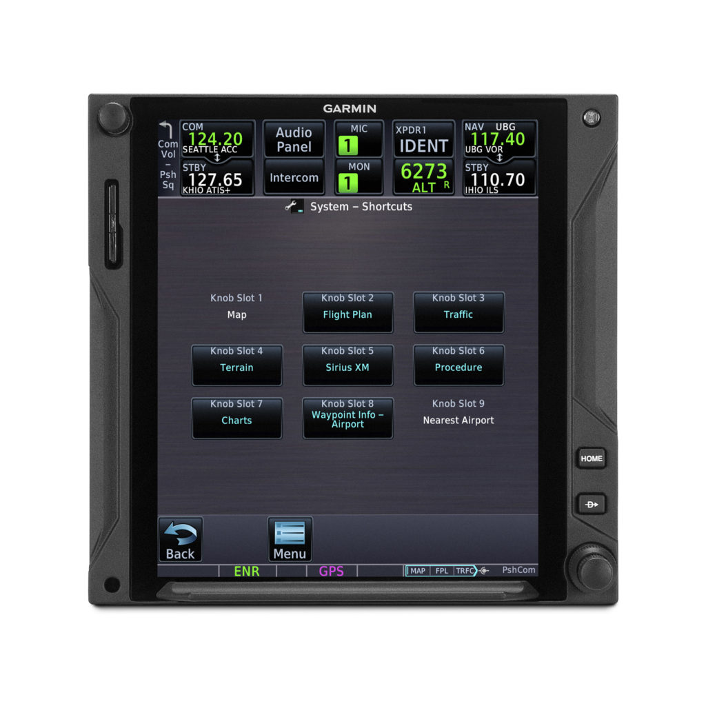 Dual concentric knob quick-access navigation setup page on Garmin GTN 750Xi