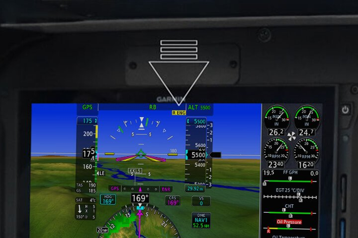Arrow identifying the yellow annunciator on G500 TXi and G600 TXi that helps identify the inoperative engine quicker
