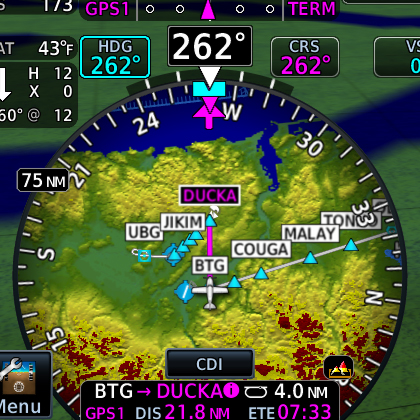 HSI map from TXi flight display showing terrain information