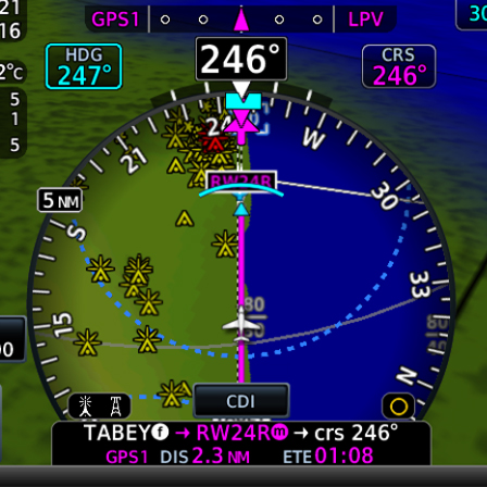 HSI map from TXi flight display showing obstacles