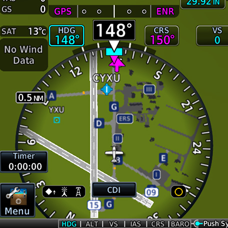 HSI map from TXi flight display showing SafeTaxi information
