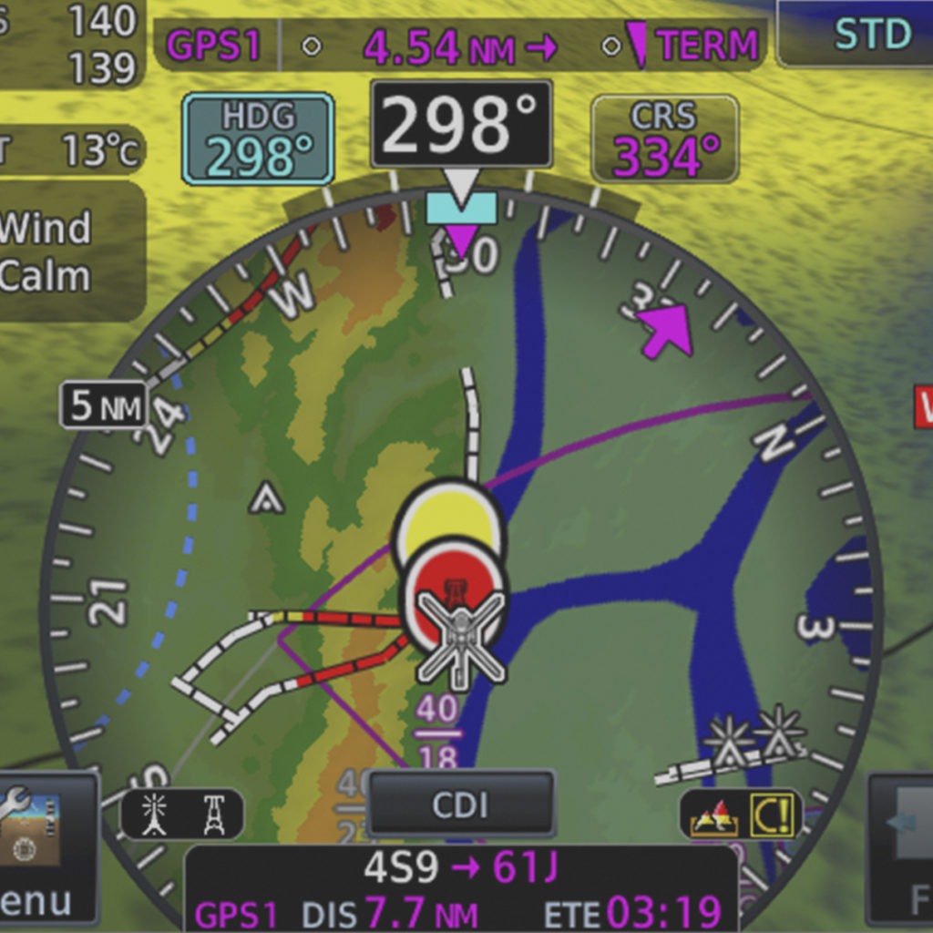 HSI map from TXi flight display showing WireAware information