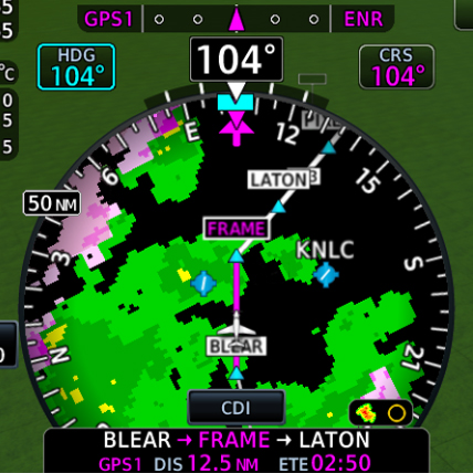 HSI map from TXi flight display showing weather information