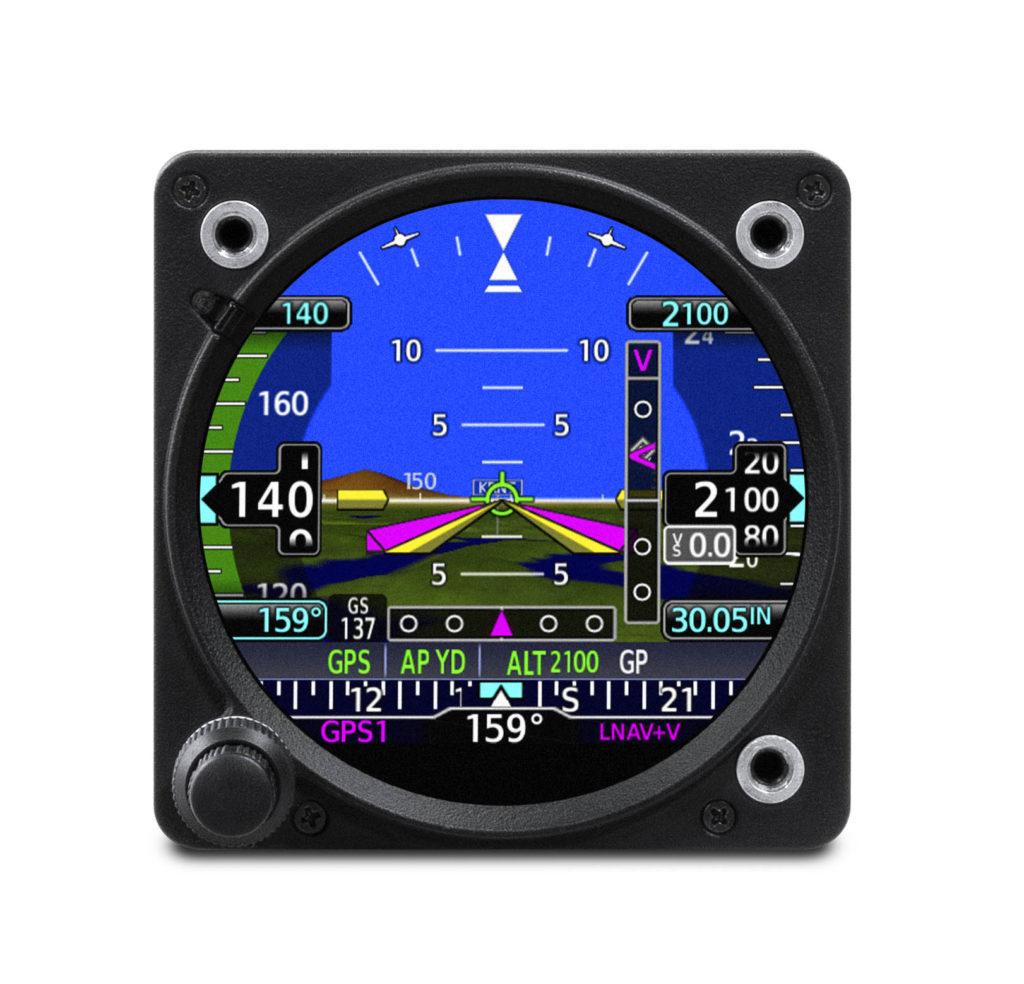 Garmin GI 275 electronic flight instrument in attitude indicator display mode.