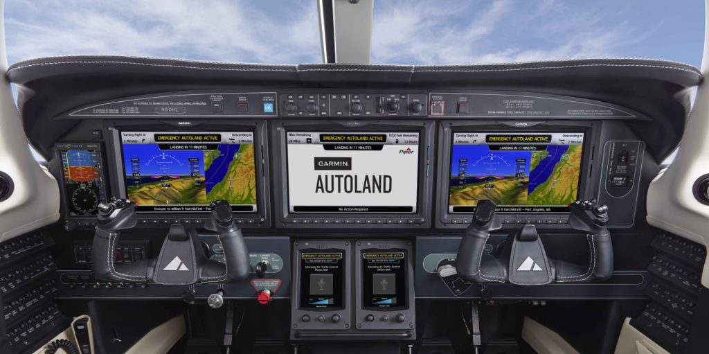 Piper M600/SLS cockpit featuring Garmin Autoland