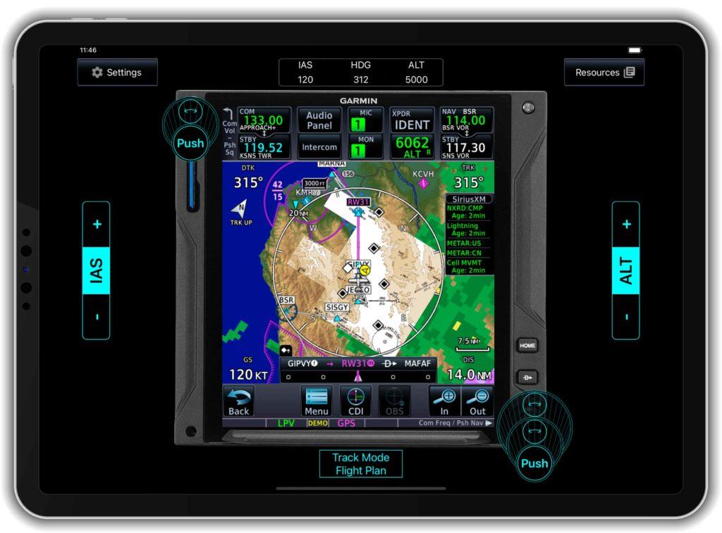 iPad displaying GTN Xi trainer app