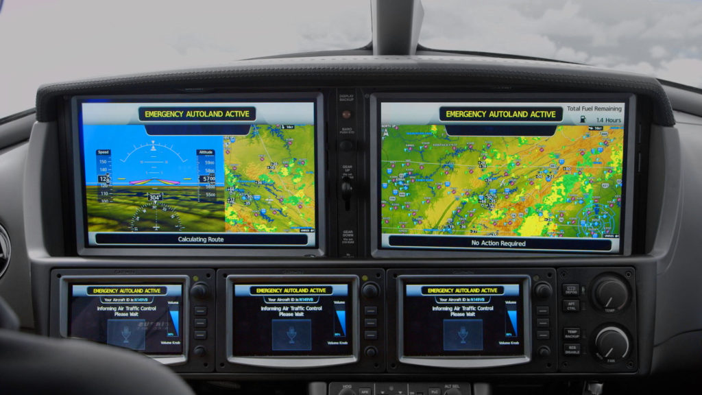 Cirrus Aircraft Vision Jet with Garmin Autoland activated and displayed on the flight deck